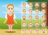 Russian Folk Girl Cartoon Emotion faces Vector Illustration