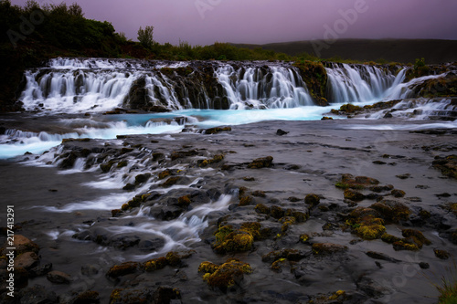 Bruarfoss waterfall. The Blue waterfall in Iceland. - 217413291