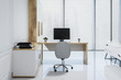 Leinwanddruck Bild - White pannel manager office interior, window