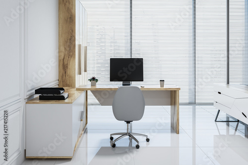 Leinwanddruck Bild White pannel manager office interior, window