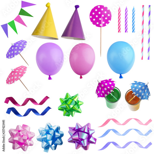 Foto Murales Set of birthday party elements isolated on white