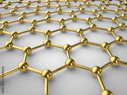 Illustration of a Golden graphene crystal lattice, graphene film with depth of field. The isolated image of the material of the future on white background. 3D rendering © Станислав Чуб