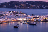 Mykonos port with boats and windmills, Cyclades islands, Greece - 217424817