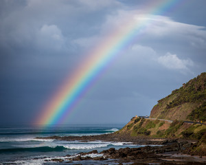 Rainbow, ocean, beach, great ocean road, Victoria, Australia