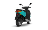 3D Rendering of turquoise modern motor scooter isolated on white background. Rear side view of turquoise moped. Perspective. Right side view.