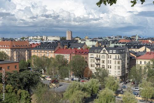 Foto Spatwand Stockholm Buildings view from Observatorielunden