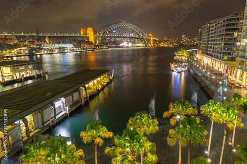 Aluminium Nacht snelweg Circular Quay Sydney with Harbour Bridge in Background