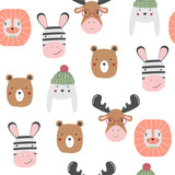 Funny animals faces seamless pattern. Vector hand drawn illustration. - 217433057