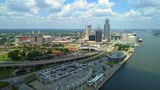 Aerial city tour Downtown Mobile Alabama 4k 24p hyperlapse sped up - 217439294