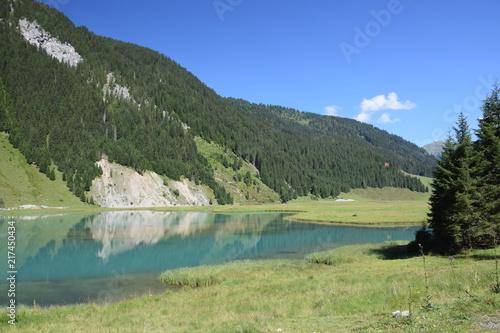 Canvas Pistache tarn in the alps