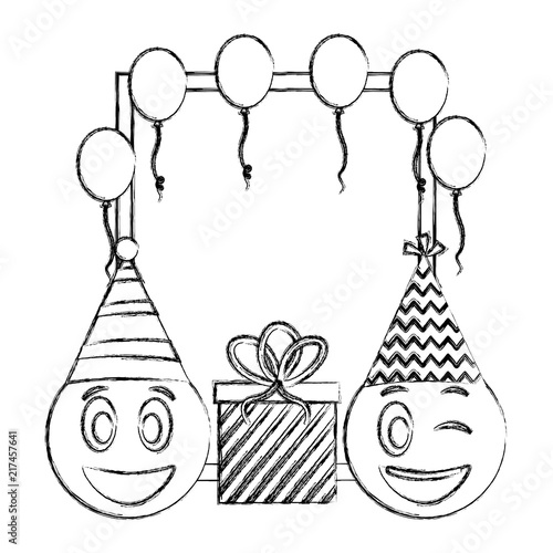 Birthday Emoticon Faces T And Frame Balloons Hand Drawing Design