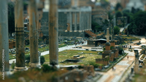 tilt shift on the imperial holes in Rome, Italy