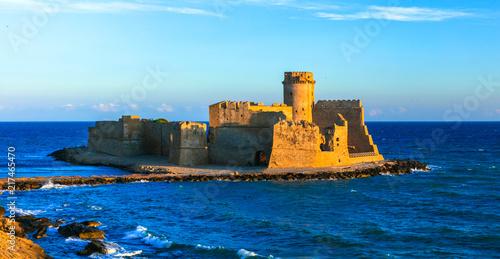 Fotobehang Freesurf Medieval castle in the sea Le Castella, Isola capo Rizutto in Calabria, Italy