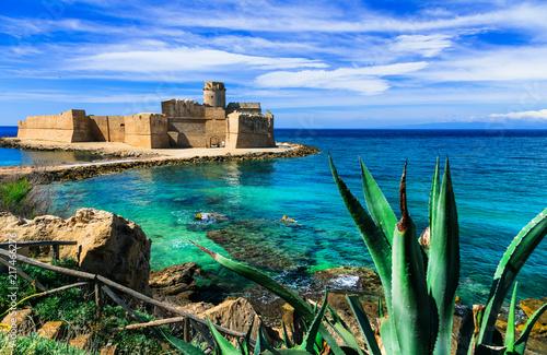 Fotobehang Freesurf Medieval castle in the sea. Le Castella, Isola capo Rizutto in Calabria, Italy