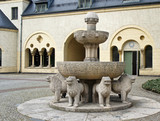 Poznan, Poland - 04/11/2014 - fountain with sculptures near the Imperial Castle
