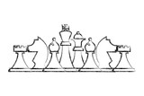 chess pieces set strategy game vector illustration hand drawing