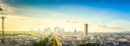 panorama of skyline of Paris city towards La Defense district from above, France, retro toned - 217473683