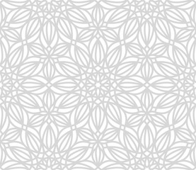 Floral seamless pattern. Vector gray ornamental texture.