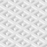 White seamless geometric pattern. Vector volumetric background.