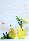 Summer cool cocktail with fresh pears - 217482295