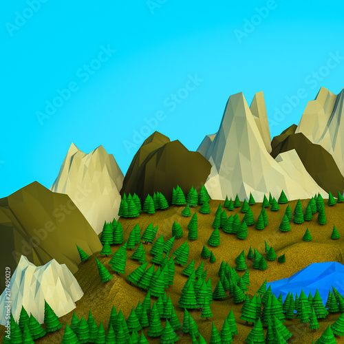 Fotobehang Pool low polygonal Christmas trees and mountains. Landscape. Computer graphics. 3D rendering