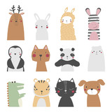 Set of cute cartoon animals. Vector hand drawn illustration. - 217490201