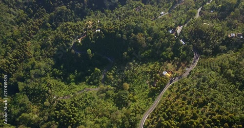 Aerial above beautiful mountain road with  forest around, Bali island north area,Indonesia