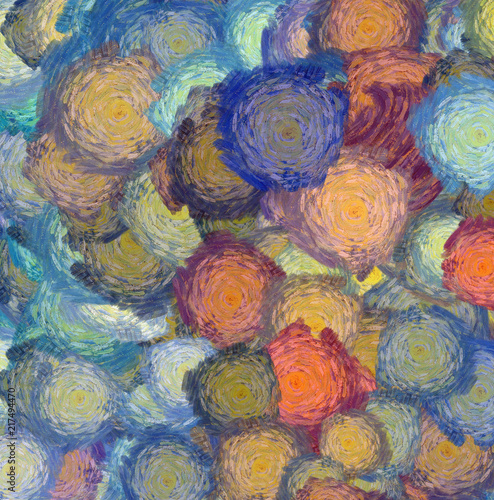 Abstract texture background. Digital painting in Vincent Van Gogh style artwork. Hand drawn artistic pattern. Modern art. Good for printed pictures, postcards, posters or wallpapers and textile print. © Avgustus