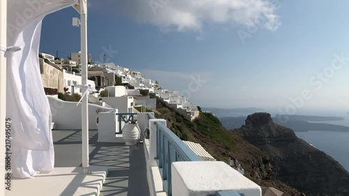 White Flowing Canopy In Santorini