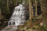 Large Stepped Waterfall Flowing Down Pennsylvania Mountain Side