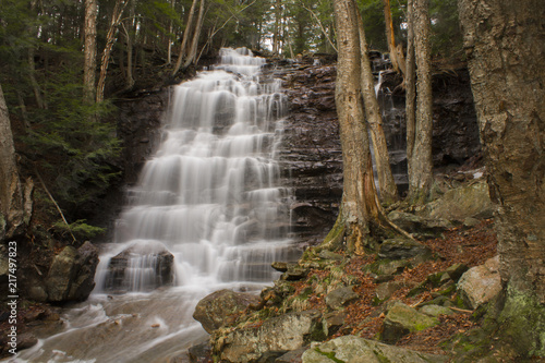 Large Stepped Waterfall Flowing Down Pennsylvania Mountain Side - 217497823