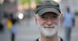 Elderly caucasian man in city face portrait - 217499054