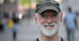 Elderly caucasian man in city face portrait - 217499058