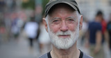 Elderly caucasian man in city face portrait - 217499074