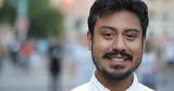 Hispanic man in city smile happy face portrait - 217499097