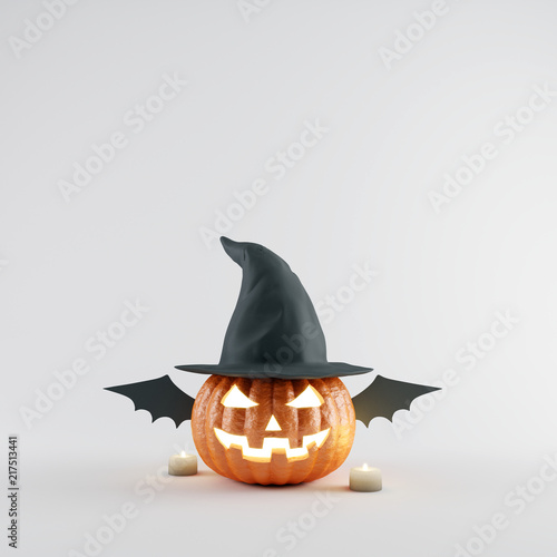 Halloween Pumpkin with wizard hat and bat wings on white bright background. 3d rendering © aanbetta