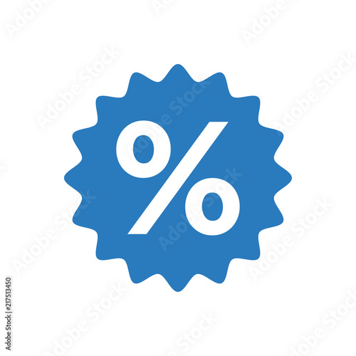 Percentage sign icon vector blue - 217513450