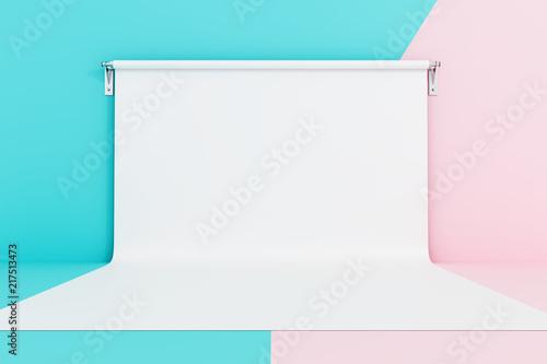 Pusty fotografii studio na pastelowych kolorów tle. 3d rendering