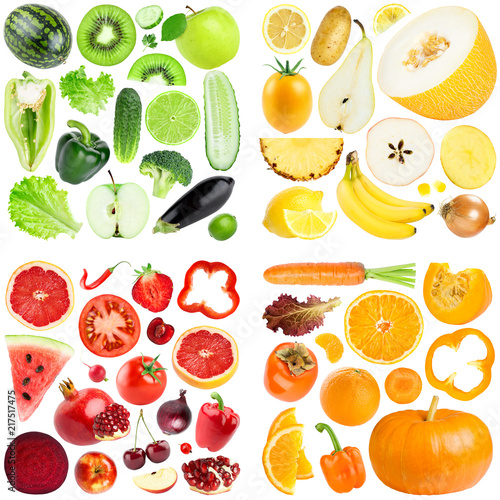 Foto Murales Collection of color fruits and vegetables