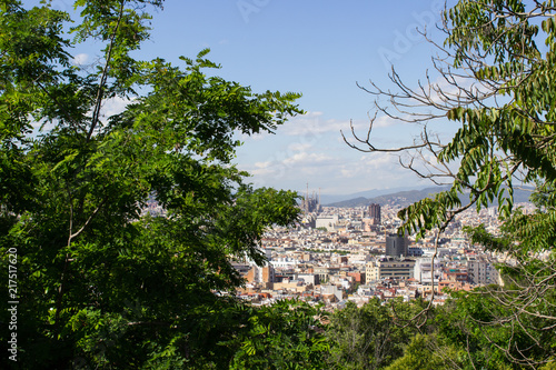 Canvas Barcelona Views of Barcelona from the Park on the mountain of Montjuic