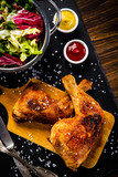 Roast chicken legs with and vegetables - 217519277