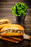 Hot dog on cutting board  - 217519420