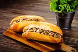 Hot dog on cutting board  - 217519441