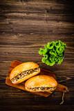Hot dog on cutting board  - 217519489