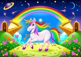 Rainbow unicorn in a fantasy landscape with golden stairs - 217521268