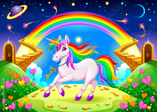 Foto Spatwand Kinderkamer Rainbow unicorn in a fantasy landscape with golden stairs
