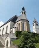 beautiful church in kitzbuhel in austria