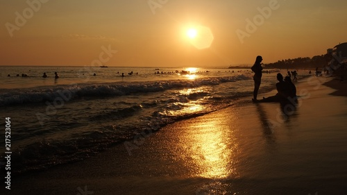 Foto Spatwand Strand beach at sunset