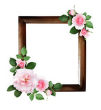 Pink rose flowers and green leaves in a corner floral arrangements - 217525034