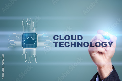 Foto Murales Cloud technology. Data storage. Networking and internet service concept.